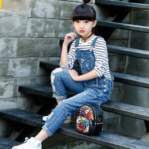 乌龟先森 儿童背带裤 女童春季新款小学生童装时尚女孩韩版儿童牛仔长裤子
