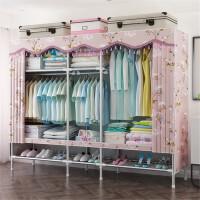 衣柜简易布衣柜简约现代经济型钢架组装钢管加粗加固双人布艺衣橱 2门