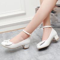 春秋女童高跟鞋 白色舞蹈单鞋公主小女孩童鞋 儿童皮鞋演出鞋
