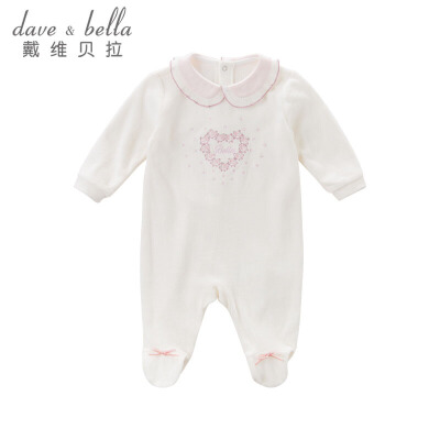 davebella戴维贝拉秋季女宝连体衣 绣花连身衣DB6050戴维贝拉 每周二上新  0-6岁品质童装