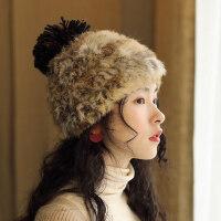 甜美可爱球球针织帽柔软毛线帽韩版时尚护耳帽兔毛帽子女保暖