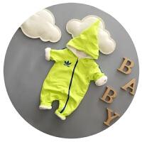 婴儿衣服春秋加厚抓绒宝宝连体衣秋冬新生儿爬衣外出服3-6-9个月
