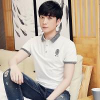 夏季新款男式纯色休闲百搭短袖POLO衫日常户外时尚韩版潮流上衣
