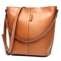 玛罗士 新款真皮女包大包水桶包欧美时尚牛皮时尚简约单肩斜挎潮流女士包包