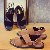 新款学生凉鞋防滑软底磨砂皮平底平跟罗马鞋女生2017夏季韩版露趾