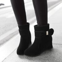 彼艾2017秋冬新款女短靴女鞋韩版时尚磨砂蝴蝶结内增高单靴女靴子