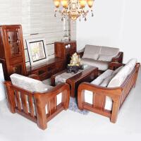 实木沙发老榆木沙发现代新中式客厅布艺坐垫123组合沙发
