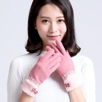 女士手套秋冬季韩版不倒绒手套 时尚户外骑车保暖手套触屏手套