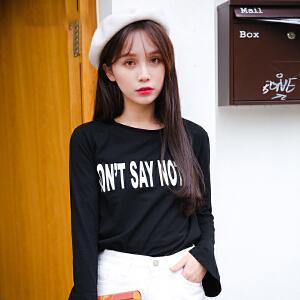 新款秋季长袖t恤女宽松韩版学生黑色显瘦圆领体恤打底衫秋装