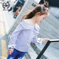 女童衬衫2018春装新款童装韩版儿童一字肩袖口字母条纹打底衫上衣
