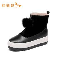红蜻蜓新款女鞋平底方头靴子百搭时尚潮流秋款潮款中筒靴