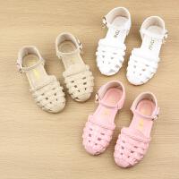 女童包头凉鞋罗马鞋夏季儿童包头编织凉鞋镂空公主鞋