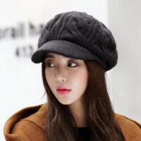 帽子女韩版潮百搭时尚针织英伦毛线帽鸭舌贝雷帽