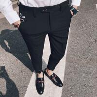2018夏季裤子男韩版潮流九分裤男士西装裤修身休闲西裤9分小脚裤
