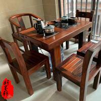 老船木茶桌椅组合茶盘阳台茶几方形功夫茶桌中式泡茶迷你茶台办公 2米台+4靠椅+1圈椅 4780 整装