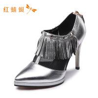 红蜻蜓新款女鞋时尚百搭舒适流苏亮面潮流商务细高跟单鞋女