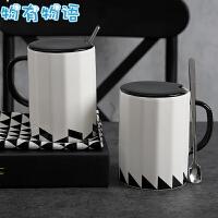 物有物语 陶瓷杯 男创意简约带盖带勺子办公室家用文艺茶杯耐热大容量咖啡杯马克杯水杯水具