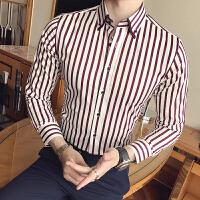 男士条纹衬衫男长袖修身韩版发型师免烫衬衣英伦商务寸衣