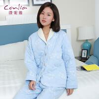 康妮雅冬季家居服 女士夹棉加厚简约针织棉长袖居家服套装