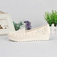 夏季坡跟护士鞋白色凉鞋女夏塑料镂空孕妇妈妈鞋工作鞋鸟巢洞洞鞋 39 偏小