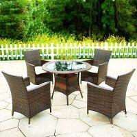 户外桌椅藤椅子庭院花园休闲桌椅室外阳台家具藤编椅三五件套组合