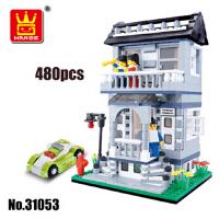 万格拼插积木别墅房子建筑模型DIY小颗粒玩具