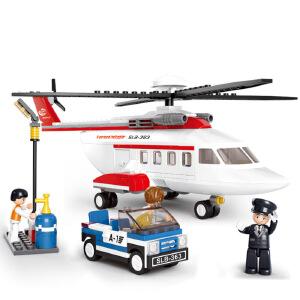 【当当自营】小鲁班航空天地系列儿童益智拼装积木玩具 H-私人直升机M38-B0363