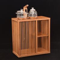 竹制茶几移动茶水柜简约现代实木茶台泡茶车功夫茶具家用茶柜套装 +金灶G9全自动