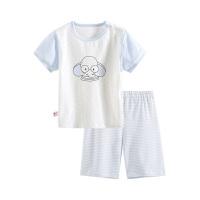 小猪班纳童装儿童家居服套装夏季薄款儿童男童睡衣短袖t条纹裤子