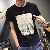 潮牌男装短袖T恤圆领3D刺绣树根飞鸟夏季半袖小衫学生帅气纯棉薄