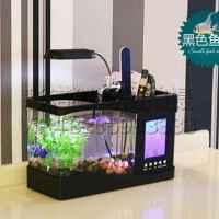 迷你鱼缸USB水族箱电子时尚鱼缸万年历闹钟秒表 黑色