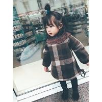 女童加绒连衣裙秋冬宝宝秋装2017新款儿童格纹公主加绒裙子