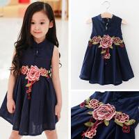 童装裙子夏中国风棉麻旗袍女童公主裙刺绣中式复古背心连衣裙