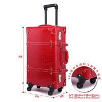 红色行李箱结婚箱子陪嫁箱皮箱新娘嫁妆箱拉杆箱女复古婚庆旅行箱 红色 万向轮母箱