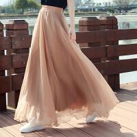 夏季金丝雪纺半身裙海边拖地长裙仙女8米大摆裙沙滩度假显瘦