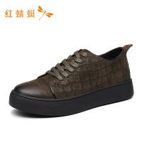 红蜻蜓冬季男鞋系带时尚英伦休闲皮鞋男士百搭工装鞋潮鞋-