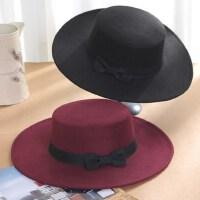 英伦风平檐毛呢女士帽子 复古绅士男平顶黑色帽子 韩版潮休闲遮阳女士礼帽