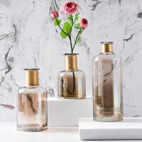 奇居良品 现代简约家居装饰摆件 马利奥茶色带铜环玻璃摆瓶/花瓶