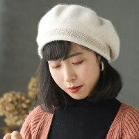 纯色瓜皮帽韩版时尚画家帽文艺蓓蕾帽子兔毛混纺贝雷帽女