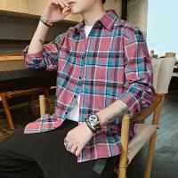 格子百搭衬衣春季长袖衬衫男士青少年帅气上衣服潮