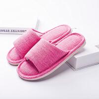 软底棉麻拖鞋日式夏季亚麻拖鞋春秋情侣居家地板男女室内家居拖鞋 37/38适合35-37的脚
