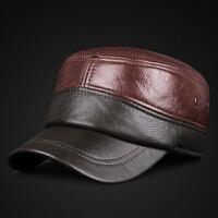男士真皮平顶帽子秋冬季保暖牛皮帽中老年户外休闲夹棉护耳棒球帽