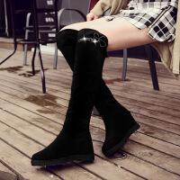 彼艾2017秋冬新款韩版坡跟过膝长靴弹力长筒靴平底内增高靴子女高筒靴女靴子