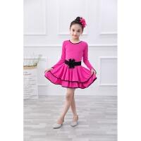 新款儿童拉丁舞蹈服装少儿练功服演出服女孩长袖秋舞裙女童舞蹈裙
