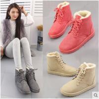 系带雪地靴女新款秋冬季韩版百搭短靴女棉鞋学生加绒女靴子潮