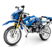 积木科技组机械密码701702回力摩托车积木兼容乐高积木玩具 亚马哈回力摩托车