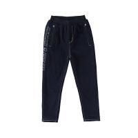 小猪班纳童装男童加绒牛仔裤冬季宽松保暖长裤儿童休闲复古裤子厚