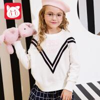 【2件3折到手价:69】小猪班纳童装女童毛衣2018冬装新款套头毛衫儿童棉线衣休闲针织衫