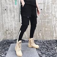 韩版夏装个性多口袋工装哈伦裤男时尚拼色罗纹青年男士束脚休闲裤