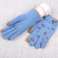 可爱毛线手套女冬 学生 韩版保暖手套女小熊手机触屏手套